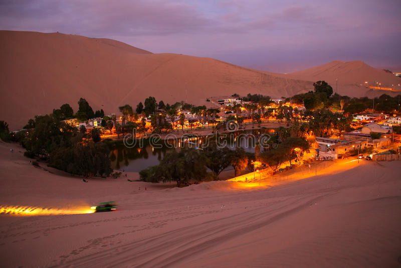 Oasis Of Huacachina At Night  Ica Region  Peru  Stock