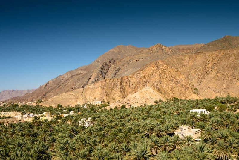 Oasis Panorama Oman Mountains at Jabal Akhdar Al Hajar Mountains stock image