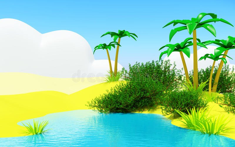 Oasis with a pond