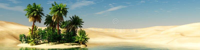 oasis Puesta del sol en el desierto fotografía de archivo