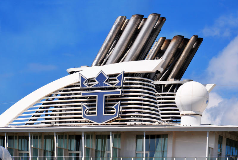 Oasis of the Seas funnel. Oasis of the Seas ships funnel, Royal Caribbean Cruise Lines stock images