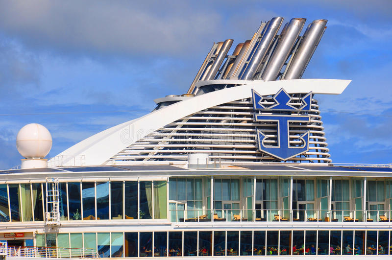 Oasis of the Seas funnel. Oasis of the Seas ships funnel, Royal Caribbean Cruise Lines stock image