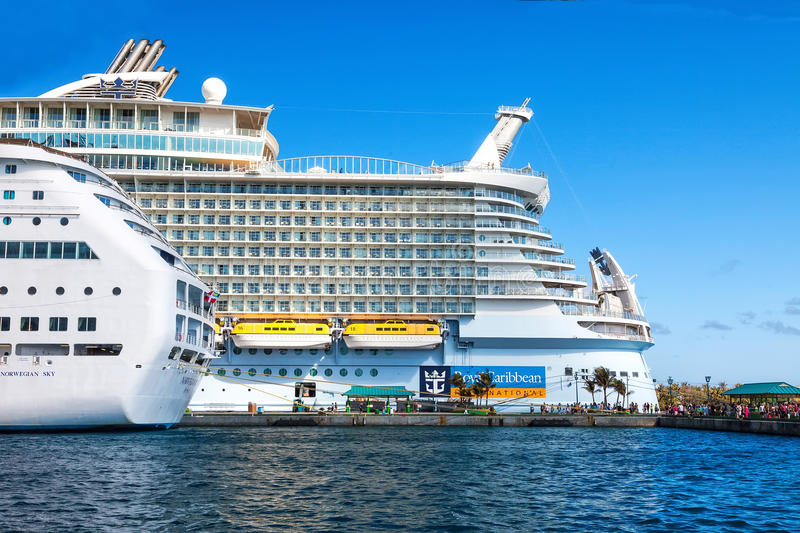 Oasis of the Seas. Nassau, Bahamas - Jan. 13, 2013: Royal Caribbean's ship, the Oasis of the Seas, anchored in the port of Nassau, Bahamas. This ship, because of stock photography