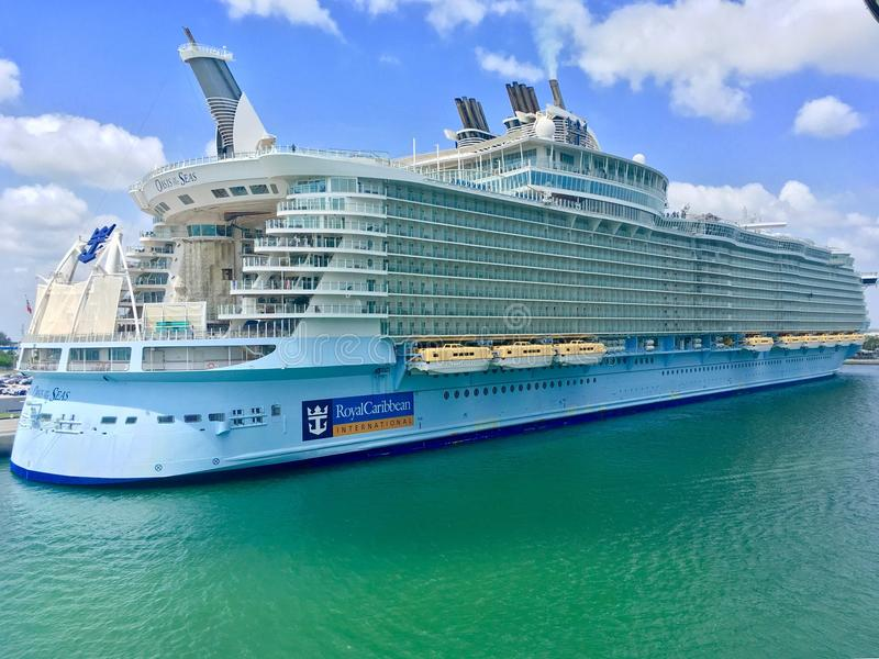Oasis of the Seas in Port Canaveral stock photos