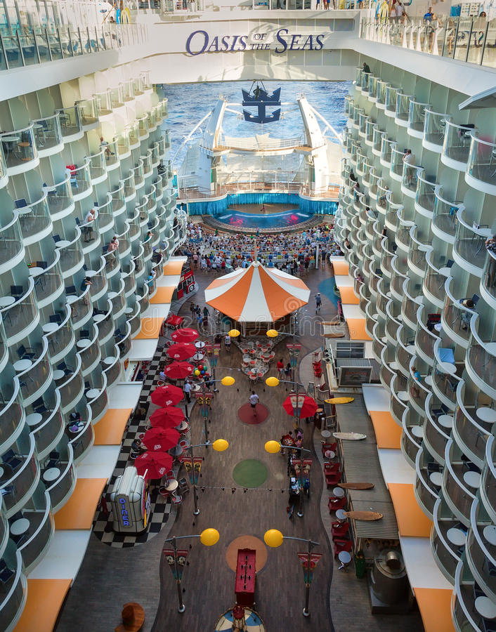 Oasis of the Seas Ship. Ft. Lauderdale, FL - Jan. 17, 2013: Royal Caribbean's ship, Oasis of the Seas, features interior cabins overlooking the Boardwalk and stock image