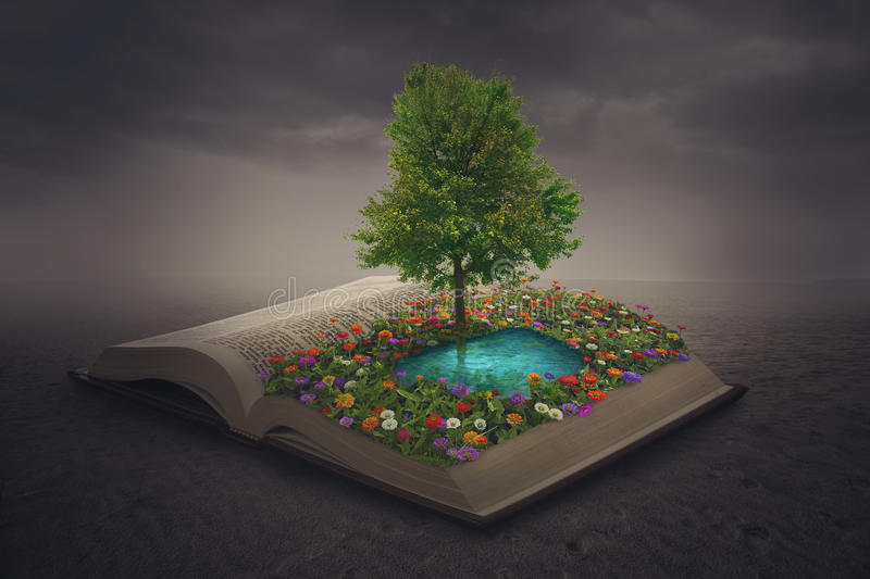 Oasis on top of a book stock photo