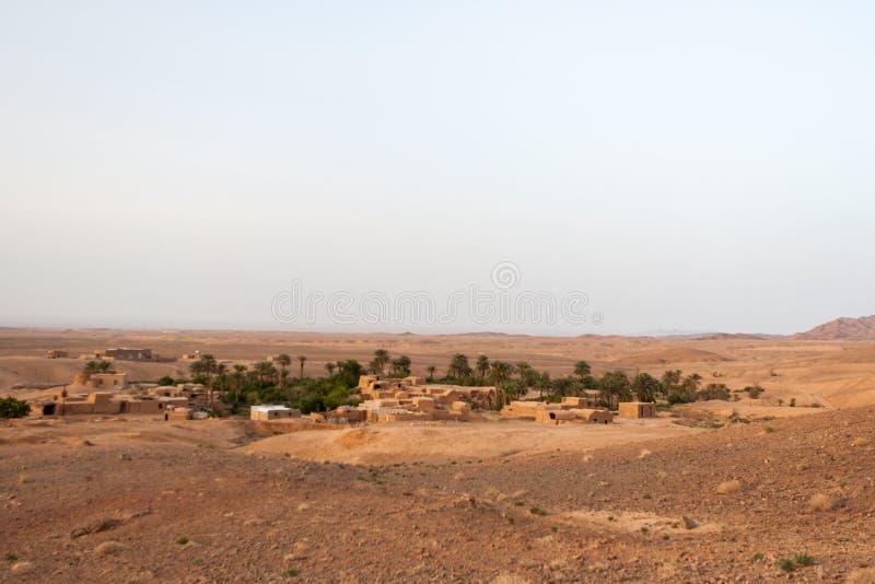 Oasis village in iranian. Oasis village in iranian desert royalty free stock image