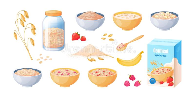 Oat breakfast. Cartoon oatmeal bowl, boiled porridge cereal, healthy food concept. Vector muesli isolated on white vector illustration