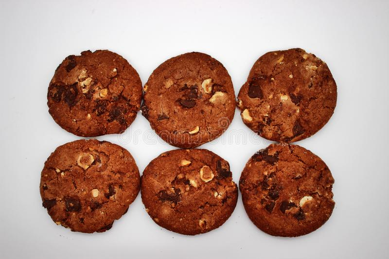 Oat cookies. Isolated image on white background.  stock photo