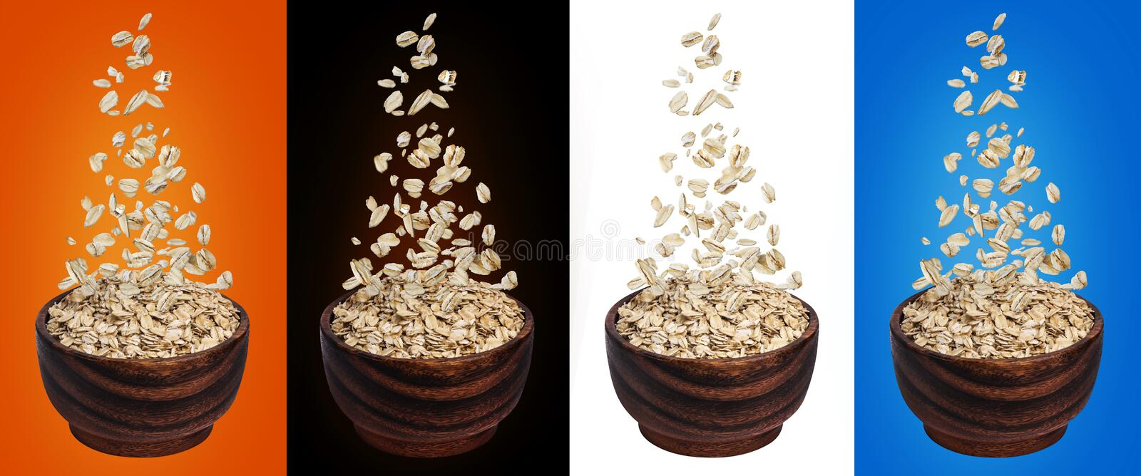 Oat flakes falling in bowl, isolated on white, black, color backgrounds, flying oats packaging concept, oatmeal grains royalty free stock photo