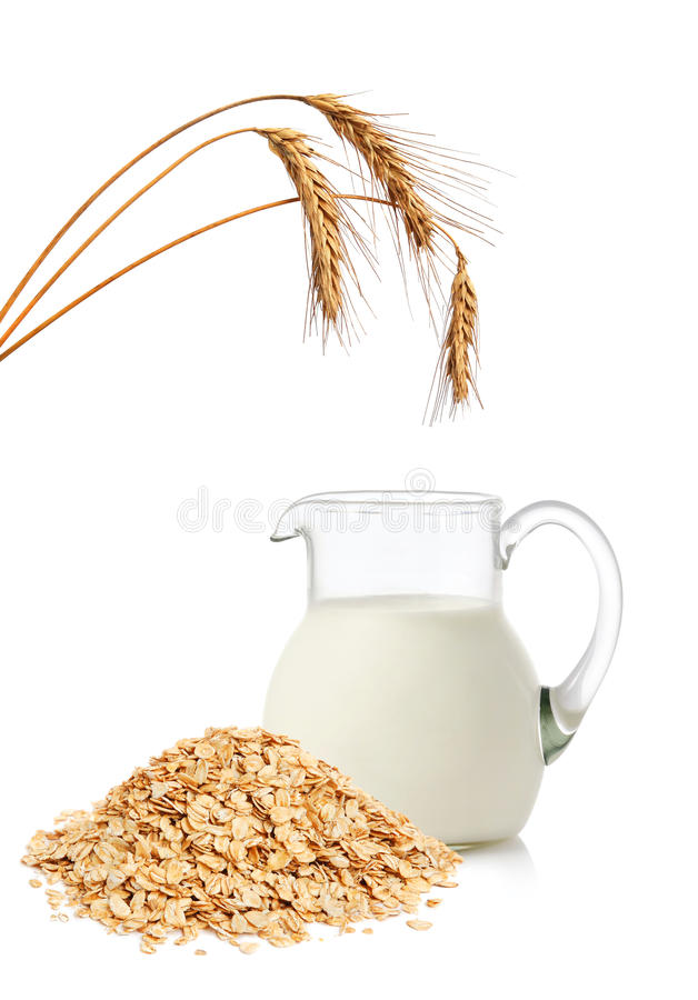 Download Oat flakes and milk stock image. Image of dairy, muesli - 25048147