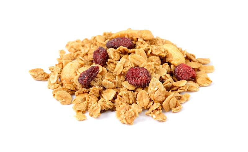Oat Granola with dried raspberries breakfast cereal isolated on. White background stock photo