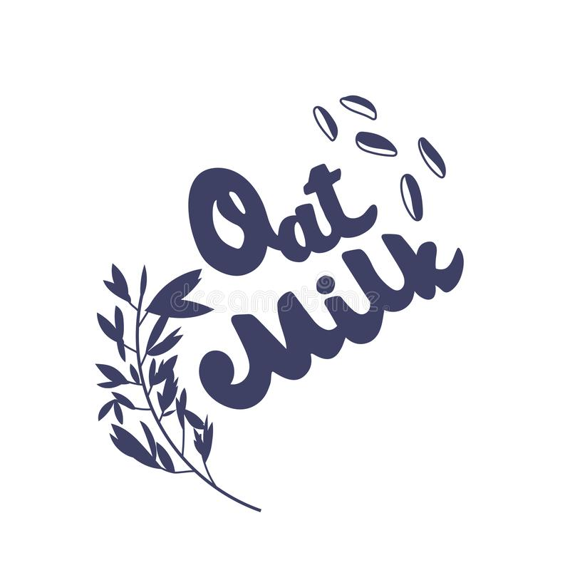 Oat milk original hand drawn vector lettering. Grains, branch flat illustration. Fresh cold morning drink. White typography on grey background. Healthy royalty free illustration