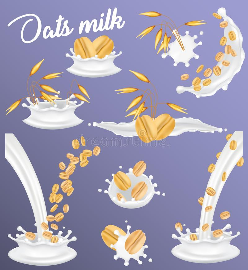 Oat milk splash set, vector realistic illustration royalty free illustration