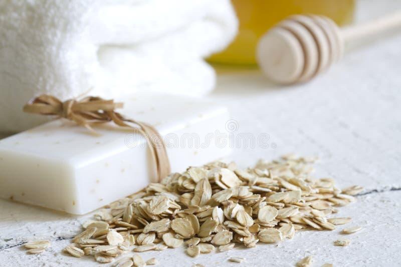 Oat peeling skin care cosmetics closeup. Concept royalty free stock photos