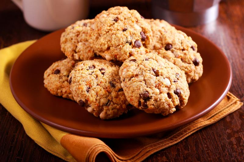 Oat whole wheat cookies stock photo
