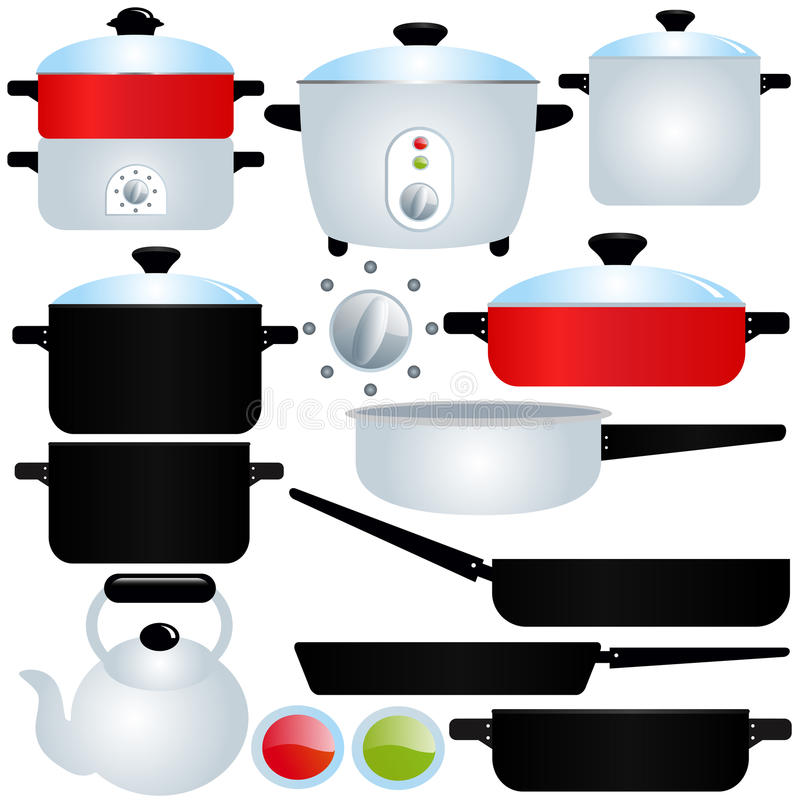 Oated Pot and Pan, Cooking Utensils royalty free illustration