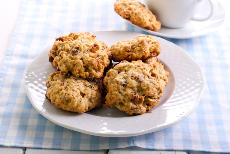 Oatmeal και σταφίδων μπισκότα στοκ εικόνα