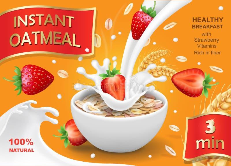 Oatmeal και φράουλα Σιτάρια βρωμών, νιφάδες και παφλασμοί γάλακτος Ρεαλιστικό διάνυσμα, σχέδιο συσκευασίας απεικόνιση αποθεμάτων