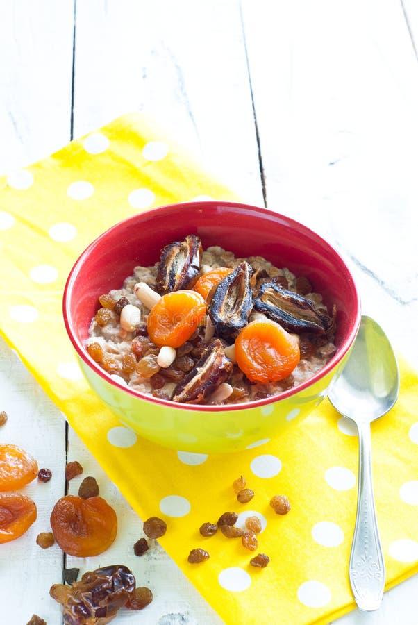 Oatmeal με ξηρό - φρούτα στοκ εικόνα