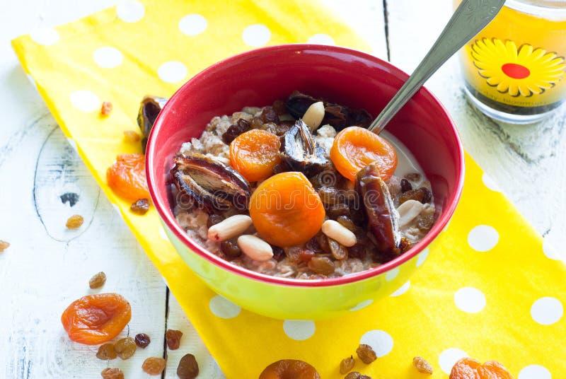 Oatmeal με ξηρό - φρούτα στοκ εικόνες