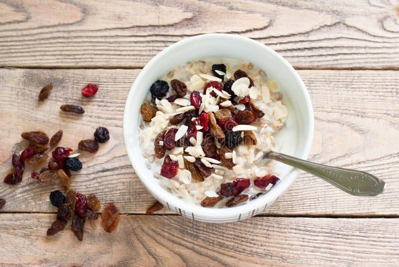 Oatmeal με ξηρό - φρούτα στοκ φωτογραφίες