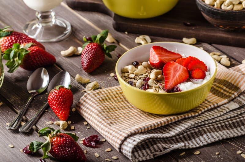Oatmeal με το γιαούρτι, το φρέσκα strawberrie και τα καρύδια στοκ φωτογραφία