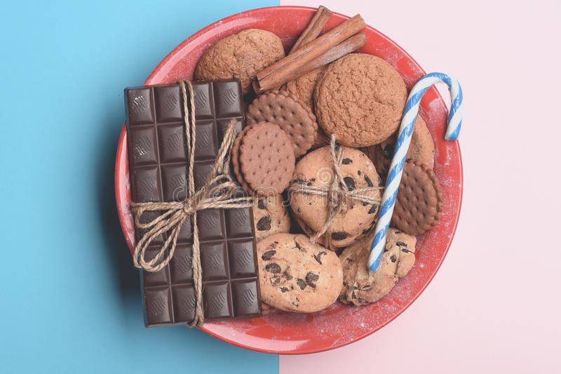 Oatmeal μπισκότα και ζύμη σοκολάτας στοκ εικόνα με δικαίωμα ελεύθερης χρήσης