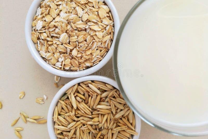 Oatmeal, oatmeal νιφάδες και σιτάρια βρωμών στοκ εικόνες με δικαίωμα ελεύθερης χρήσης