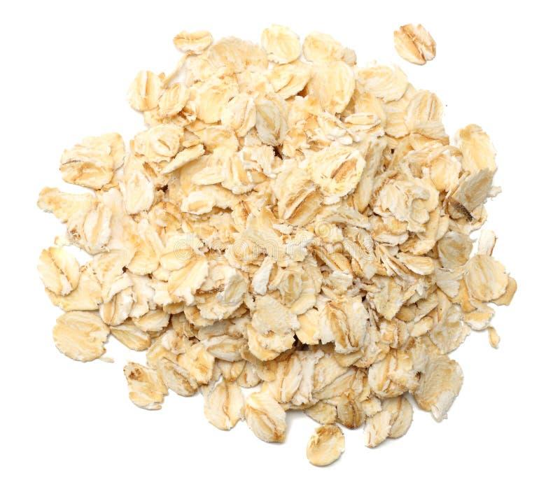 Oatmeal που απομονώνεται στο άσπρο υπόβαθρο Τοπ όψη στοκ εικόνα