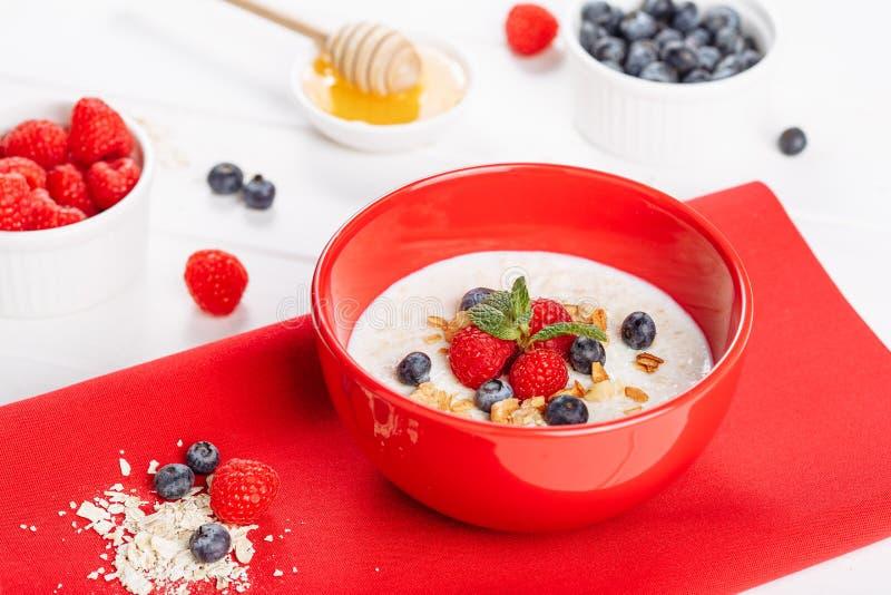 Oatmeal πρόγευμα στο κύπελλο με τα μούρα φρούτων στοκ εικόνα με δικαίωμα ελεύθερης χρήσης