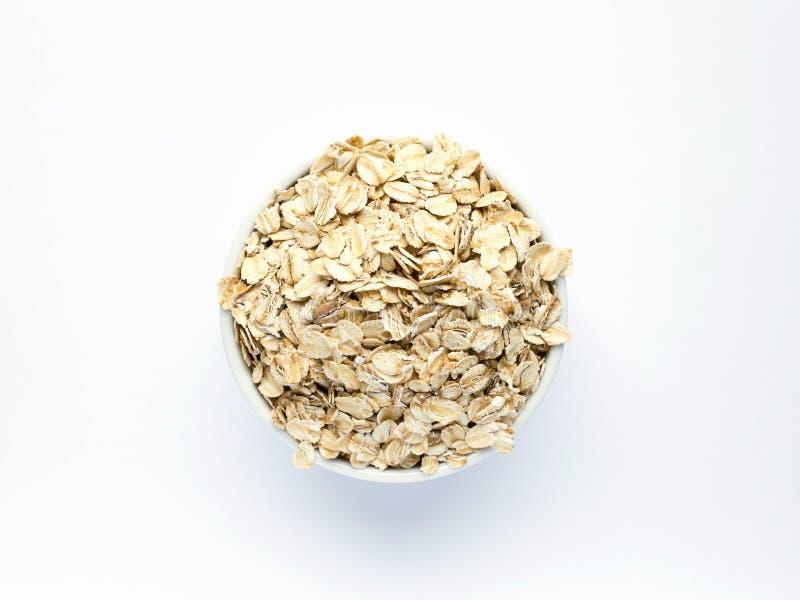 Oatmeal στο άσπρο piala σε ένα άσπρο υπόβαθρο στοκ φωτογραφίες με δικαίωμα ελεύθερης χρήσης