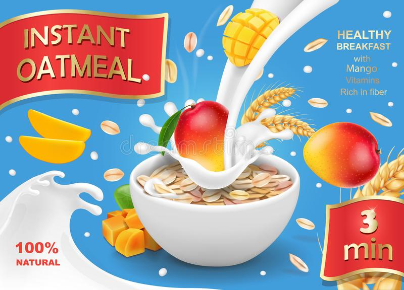 Oatmeal advertising with mango and milk splashing realistic. Oats instant flakes muesli illustration royalty free illustration