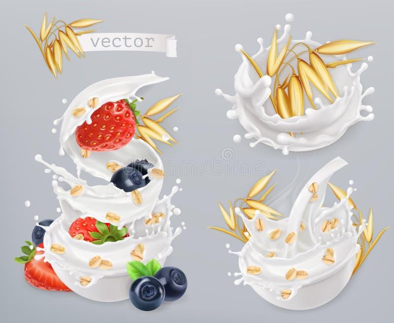 oatmeal As grões de aveia, a morango, o mirtilo e o leite espirram Grupo do ícone do vetor ilustração royalty free