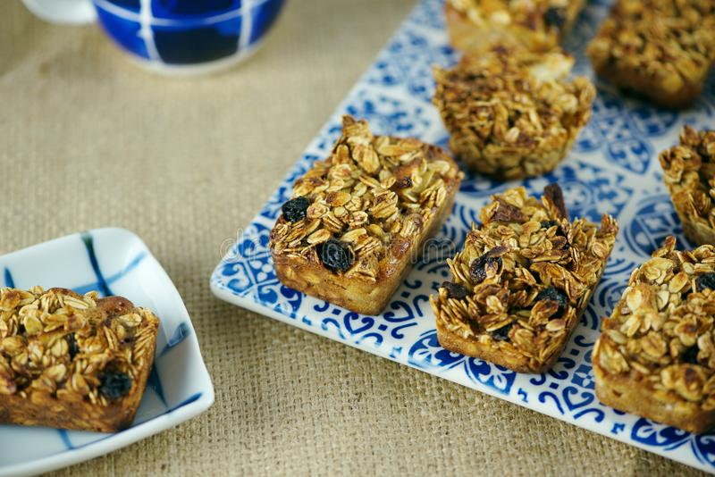 Oatmeal bake snack royalty free stock images