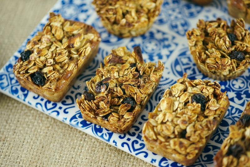Oatmeal bake snack stock photography