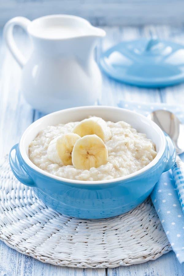 Oatmeal with banana stock photography