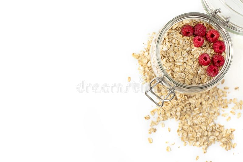 Oatmeal with berries in a jar. Breakfast of oatmeal with berries in a jar royalty free stock image