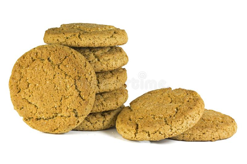 Oatmeal cookie isolate stacked in a column on a white background. Oatmeal cookie isolate stacked on a white background, oatmeal cookies taste like childhood stock photos
