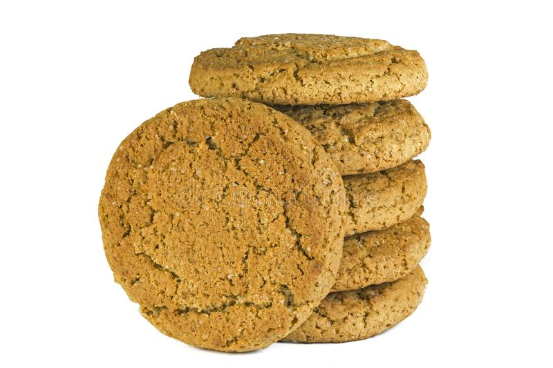 Oatmeal cookie isolate stacked in a column on a white background. Oatmeal cookie isolate stacked on a white background, oatmeal cookies taste like childhood stock photography
