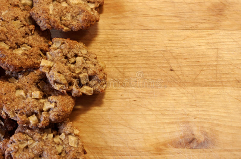 Oatmeal cookies with apples royalty free stock photo