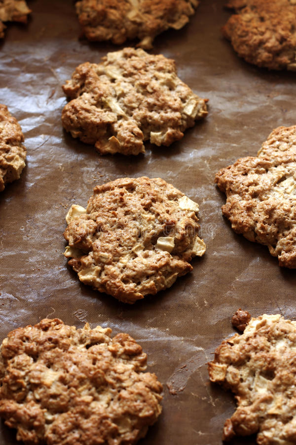 Oatmeal cookies with apples stock photography