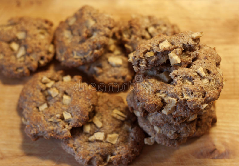 Oatmeal cookies with apples royalty free stock photos