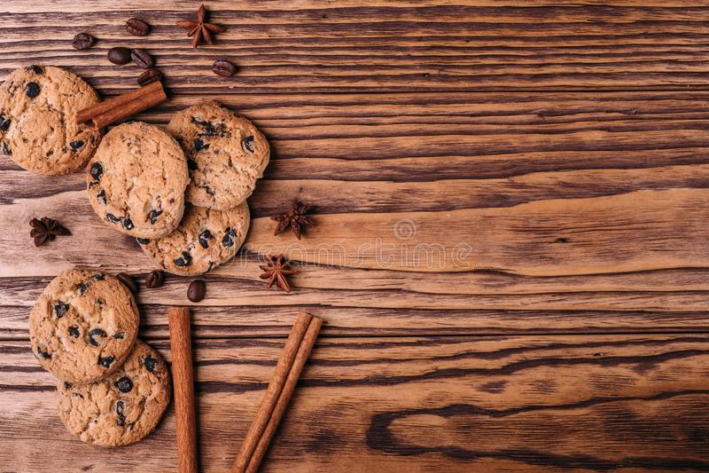 Oatmeal cookies with chocolate royalty free stock image