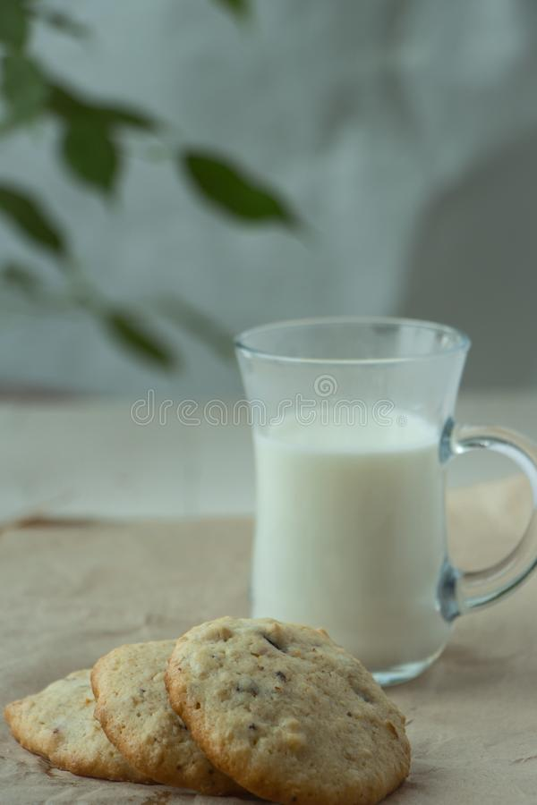 Three Oatmeal cookies with small glass of milk, light and white photography in a rustic style. Oatmeal cookies with a glass of milk, light and white photography stock photos