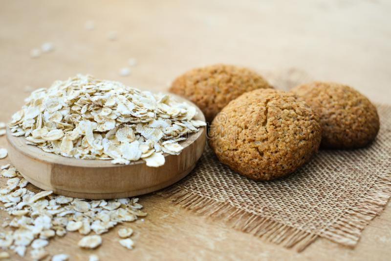 Oatmeal cookies healthy food homemade baked tasty stock photo