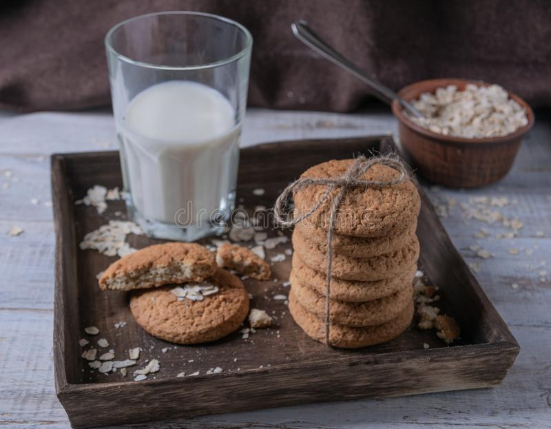 Oatmeal cookies with milk stock photography