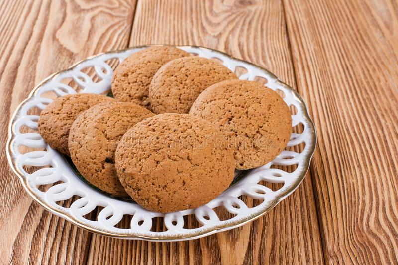 Oatmeal cookies on a plate stock photos