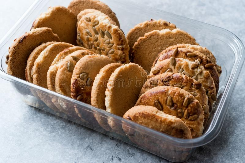 Oatmeal Cookies with Sunflower Seeds in Plastic Container Box / Kernel Seeds for Ketogenic or Keto Diet. Organic Food stock images