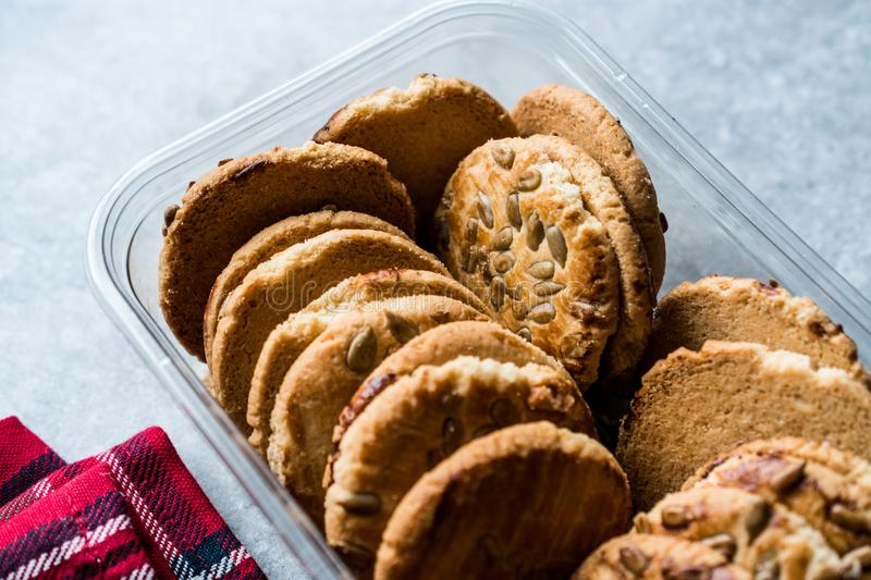 Oatmeal Cookies with Sunflower Seeds in Plastic Container Box / Kernel Seeds for Ketogenic or Keto Diet. Organic Food stock photo